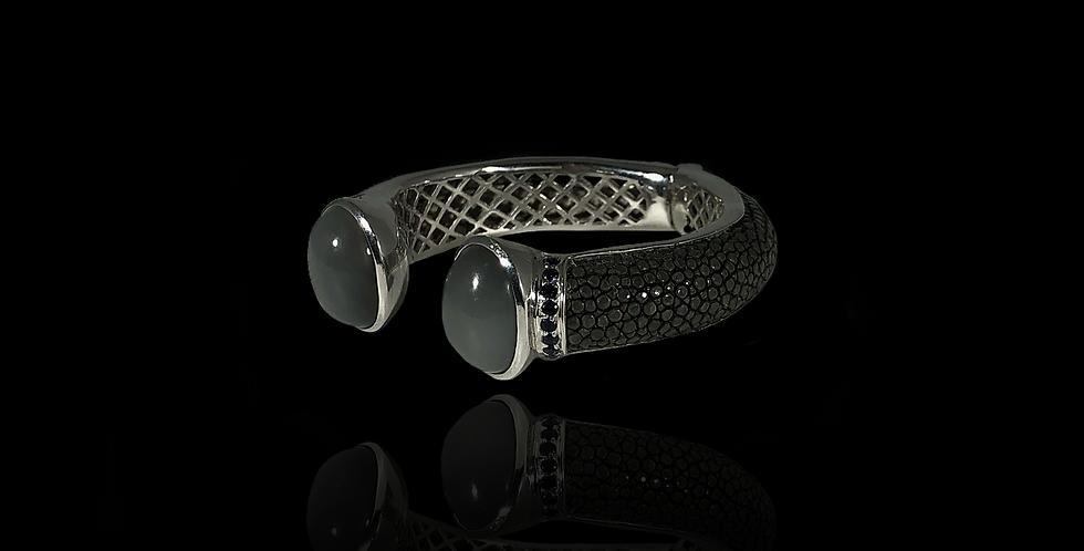 Leather Open Bracelet - Grey
