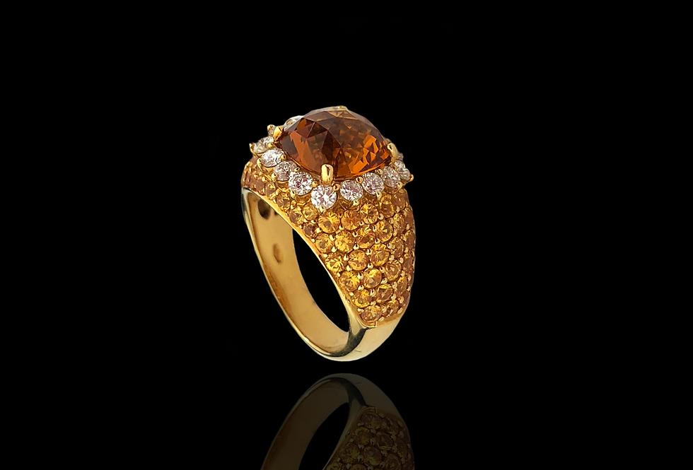 CitrineQuartz&Diamonds Ring