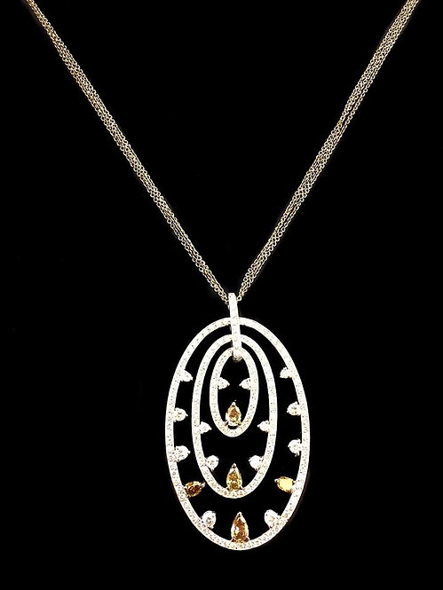 White &Brown Diamonds Circles Necklace