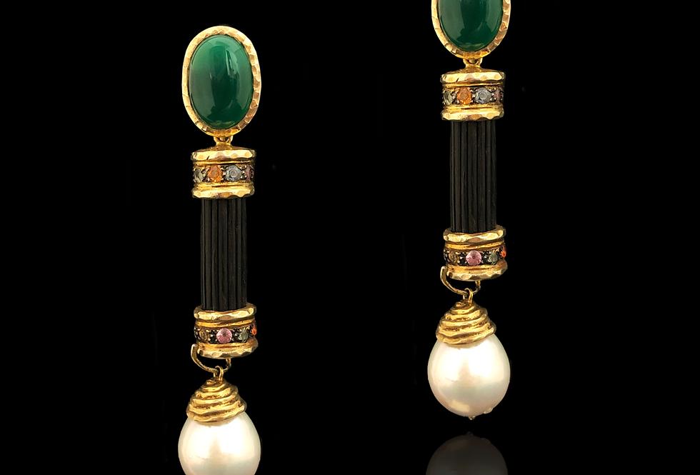 Emerald&Tourmaline w/Pearl Earrings