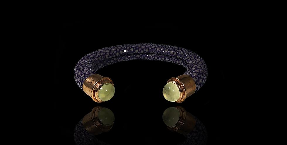 Leather Open Bracelet - Violet