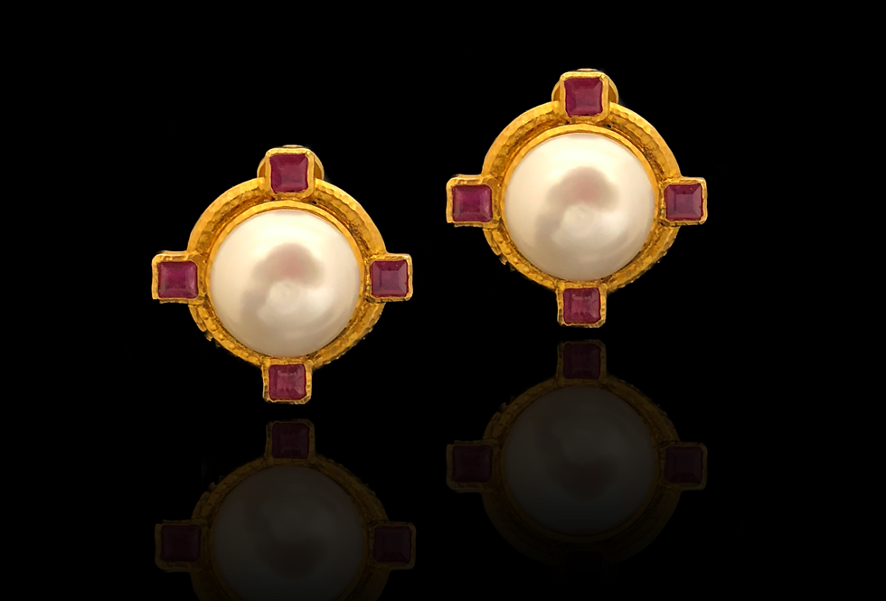 Ruby w/Pearl Earrings
