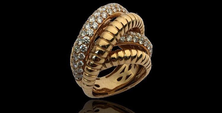 Braided Diamonds Ring
