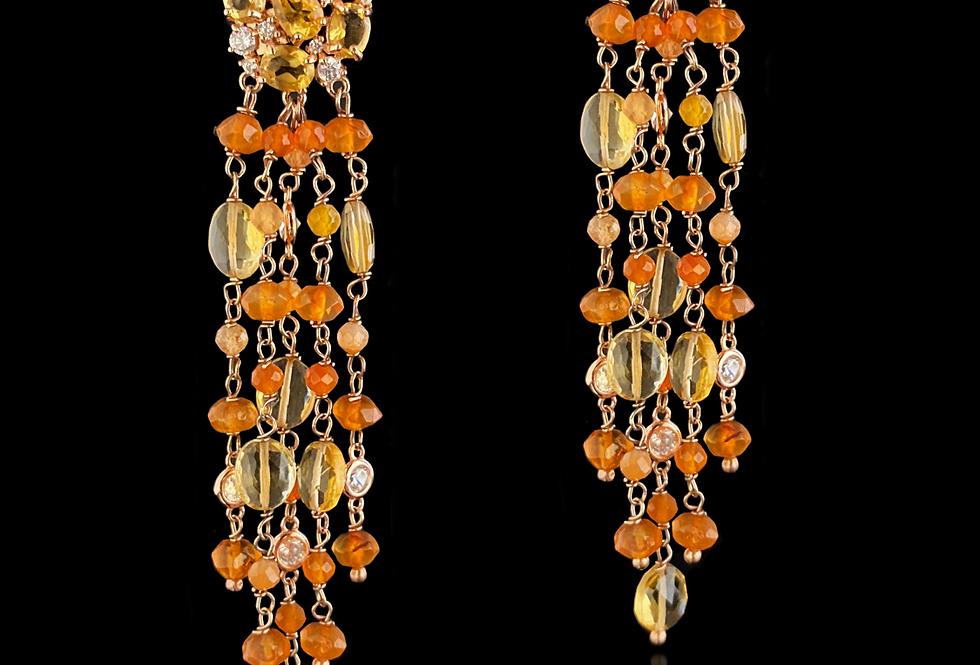 CitrineQuartz&Sapphire Earrings