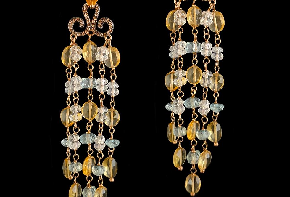CitrineQuartz&Aquamarine Earrings