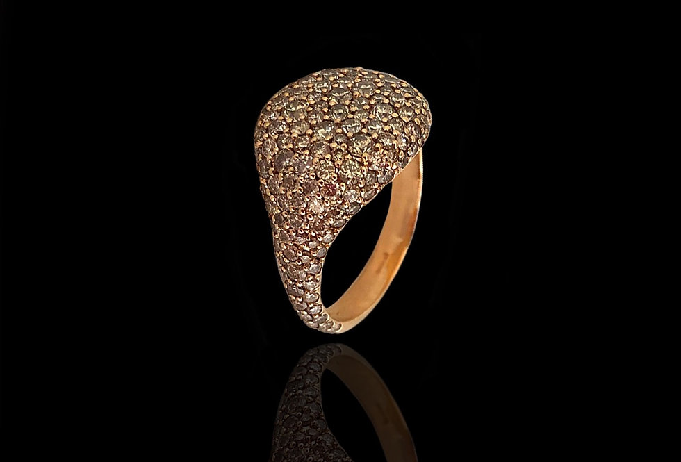 Round Chevalier Ring - Brown DM
