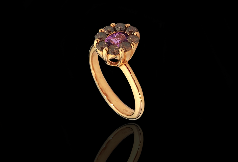 Solitaire Ring w/Halo - PinkS BrownDM