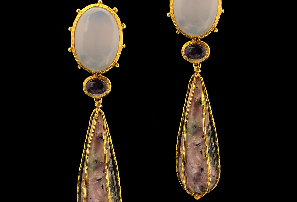 Amethyst&Moonstone Earrings