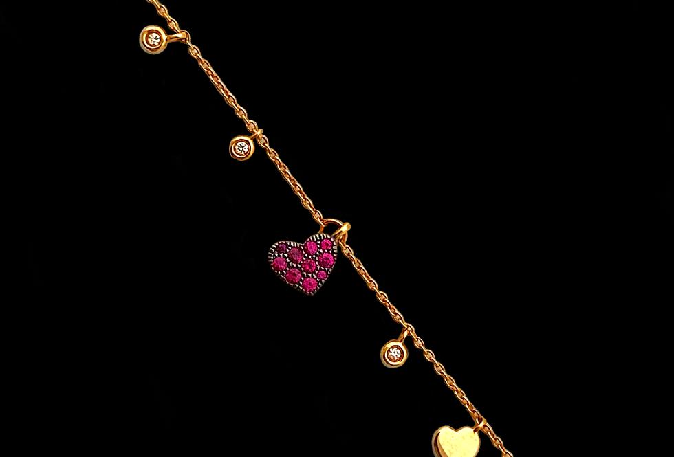 Love Bracelet - Ruby&Diamond Pendant