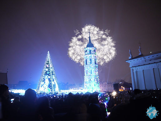 Cathedral Square on New Years, Vilnius, Lithuania, Baltics