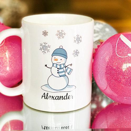 Personalized Hot Chocolate Snowman Mug.