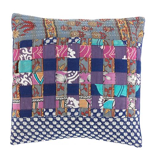 Cool Tones Kantha Basketweave Pillow