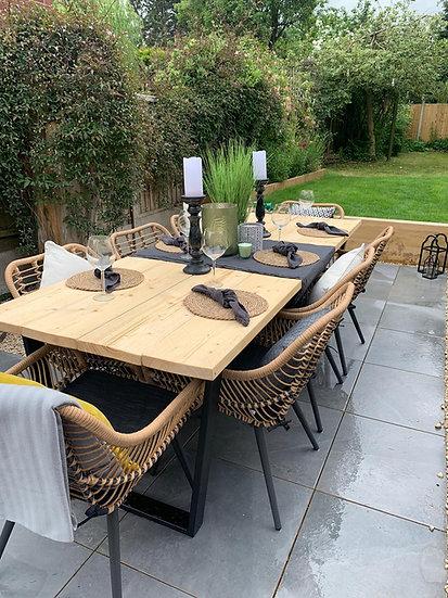 Wooden Patio Outdoor Garden Table with Metal Legs - Length 100cm to 200cm