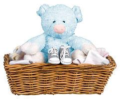 Blue Teddy in a Basket