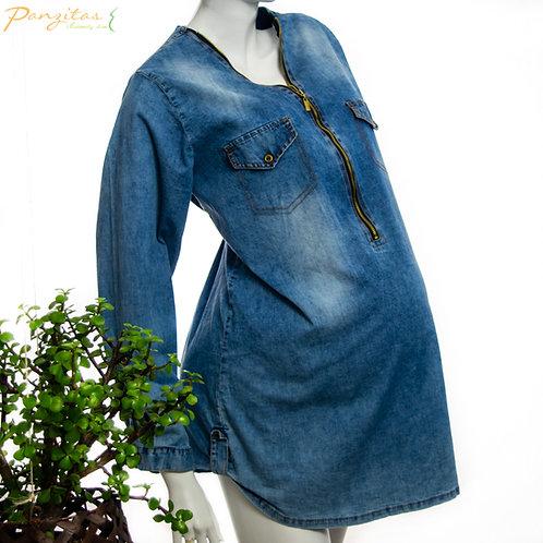 Vista Lateral Blusa Materna Jeans Cremallera
