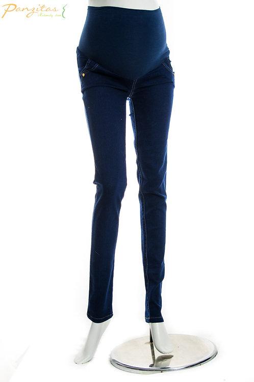 Jeans Botón Panzitas Oscuro