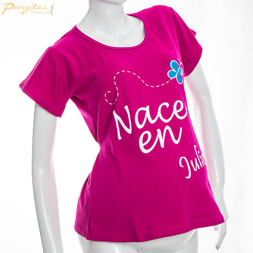 Vista Lateral Camiseta Materna Meses Nace en