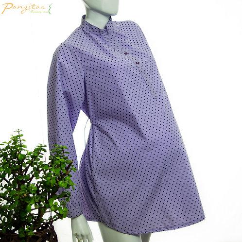 Vista Lateral Camisa Materna Tela Estampada