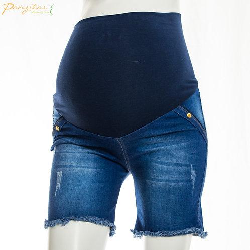 Vista Frontal Shorts Maternos Jeans