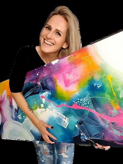 Ich male abstrakte bunte Acrylbilder auf Leinwand.   Malen ist für mich aber viel mehr, als nur Farbe auf die Leinwand zu pinseln – Malen hat für mich etwas mit Mut zu tun. Malen bringt mich mit mir in Kontakt, mit meinen Grenzen, mit meinen Gedanken, mit meinen Ängsten und mit meiner tiefsten Freude – Malen lässt mich Raum und Zeit vergessen. Diese weiße Leinwand, die fordernd vor mir liegt und nach Farbe schreit, die Angst, etwas falsch zu machen, das Bewusstsein, das ich nichts falsch machen kann, Vertrauen, Loslassen, Hingeben.