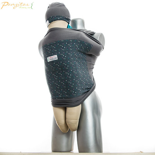 Vista Lateral Fular Reversible con Gorrito para El Bebé