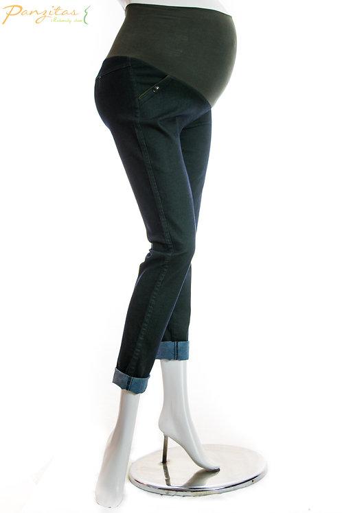 Jeans Materno Verde Panzitas
