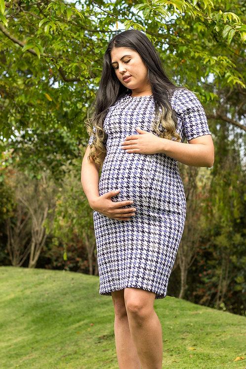 Vestido Materno Elegante Manga Media Gales