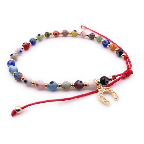 Horse Shoes Charms Dainty Evil Eye Bracelet-Best Online Gifts for Girls in Singapore