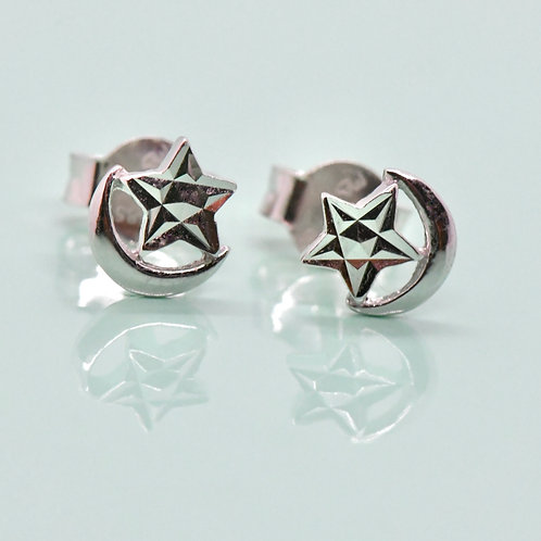 Star & Moon White Gold Earrings-Best Online Gifts for Girls in Singapore