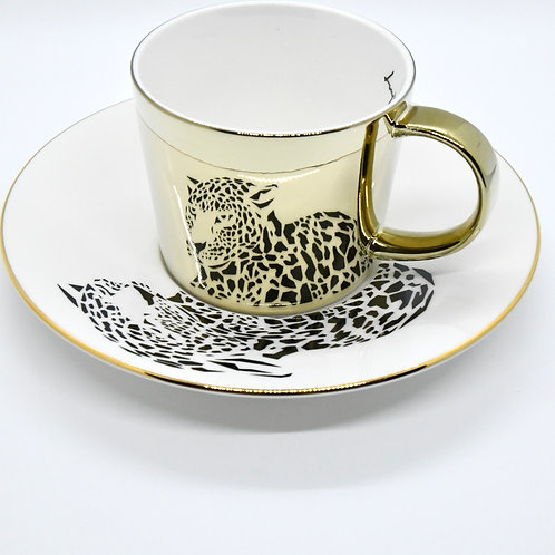 Reflecting Mirror Cup & Saucer (Amur Leopard)