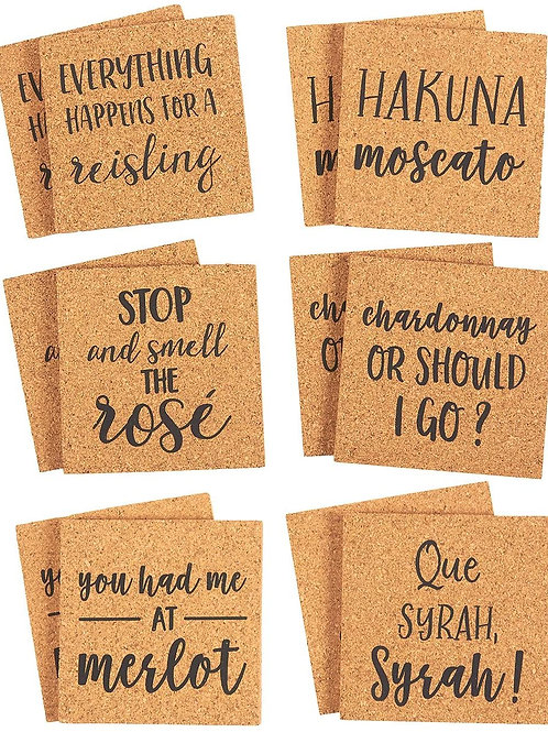 12 Piece Square Cork Coasters-Best Online Gifts in Singapore