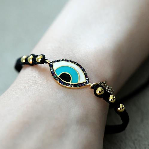 Evil Eye Black Protection Bracelet with Hamsa