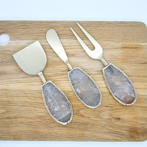 Clear Quartz Cheese knife (set of 3)