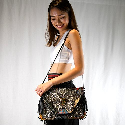 Sitara Clutch with Pompom (Black)-Online Gift Shop in Singapore