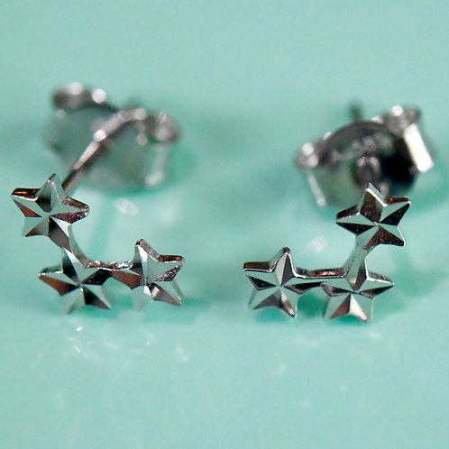 14K White Gold 3 star earrings