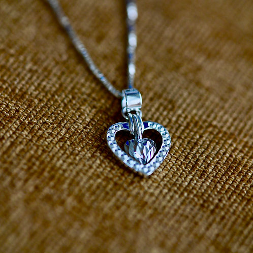 14K White Gold 'Two Hearts Forever' Pendant & Chain