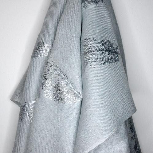 Smoke Grey Shawl With Feather Print