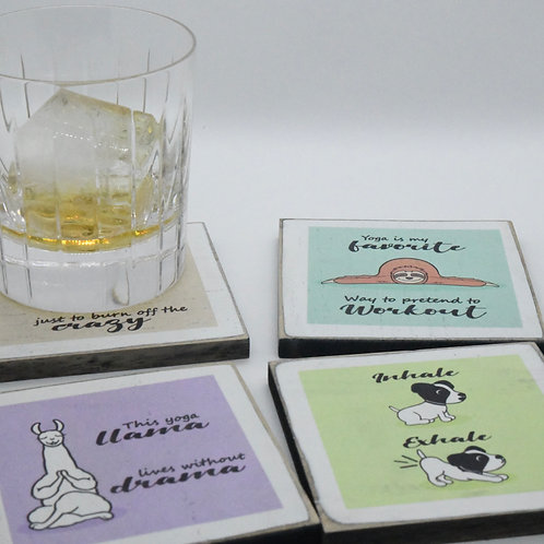 Yoga Animal Coasters (Set of 4)-Online Gifts Singapore