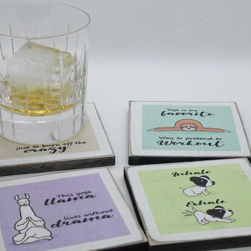 Yoga Animal Coasters (Set of 4)-Online Gifts Singapore