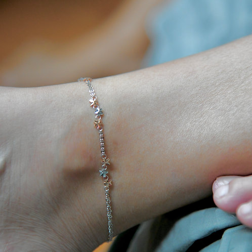 Rose and White Gold Anklet