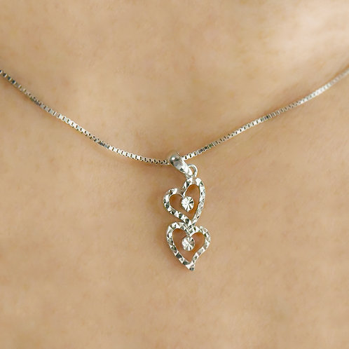 14K White Gold Pendant (2  hearts)