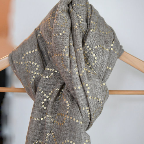 Brown dotted gold shawl