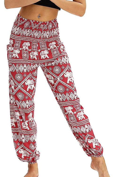Baggie Hippie Pants (Red Bohemian Pattern)-Best Online Gifts for Girls in Singapore