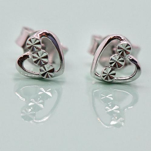 White Gold Heart Earrings-Best Online Gifts for Girls in Singapore