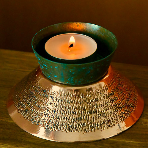 Copper Teal  Lamps (tea light candle included)
