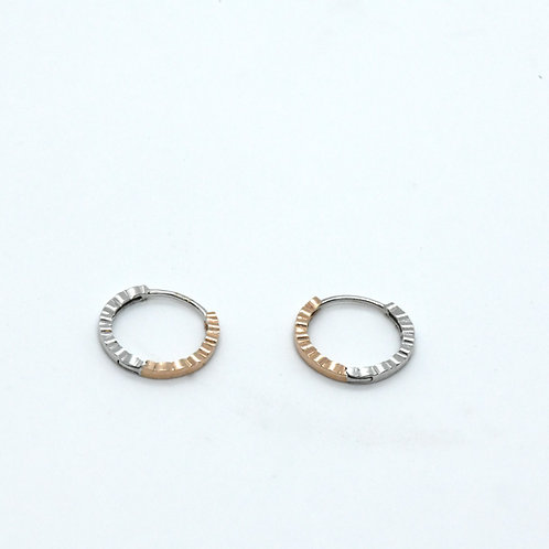 14K White & Rose Gold Thin Hoops