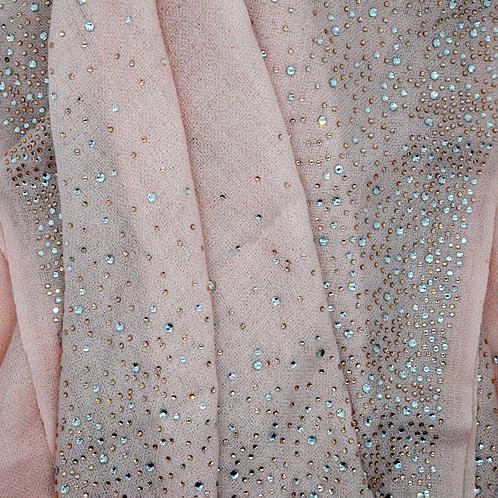 Crystal Embedded Pink Shawl