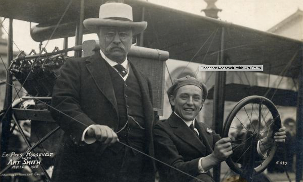 Former President Theodore Roosevelt with pilot Art Smith and his Curtiss Pusher at the Panama Pacific International Exposition.