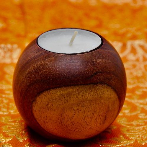 Round Teak Wood Tea Light Holder (tea light candle included)