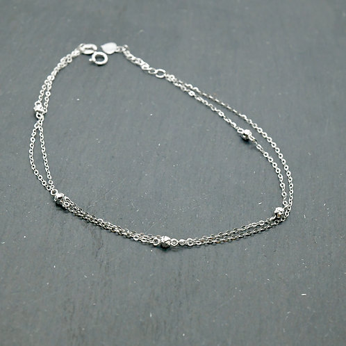 White Gold Double Line Anklet-Best Online Gifts for Girls in Singapore